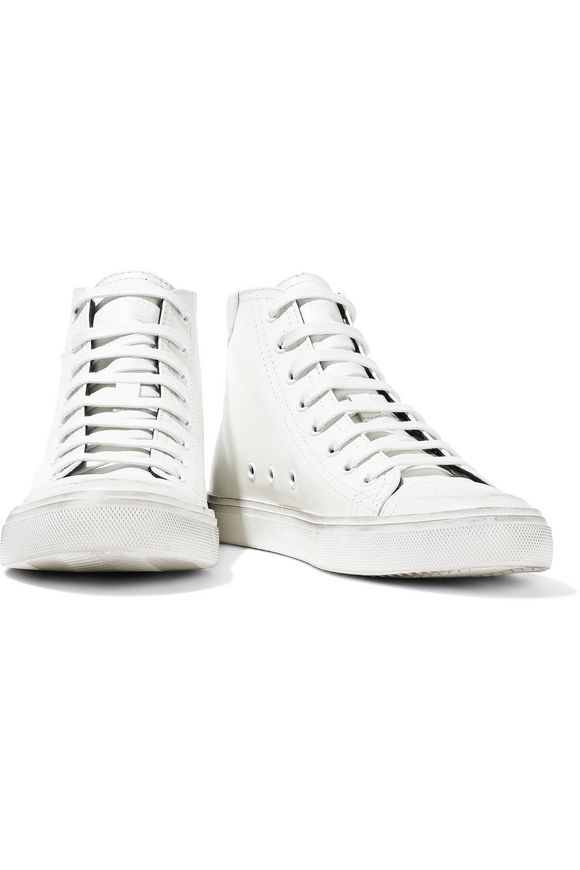 9f76c451a9e Bedford appliquéd distressed leather high-top sneakers | SAINT ...