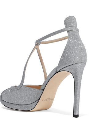 JIMMY CHOO Fawne glittered leather platform sandals
