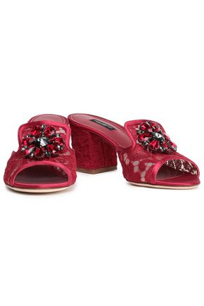Dolce & Gabbana Bianca Crystal-embellished Corded Lace Mules In Crimson