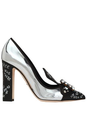 DOLCE & GABBANA Embellished printed and mirrored-leather pumps