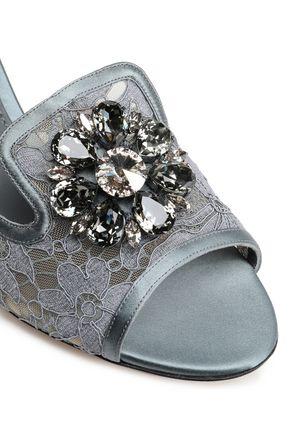 DOLCE & GABBANA Bianca Abaya crystal-embellished corded lace mules