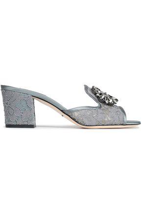 16b5e81587 DOLCE & GABBANA Bianca Abaya crystal-embellished corded lace mules