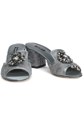 a0a13e16a DOLCE & GABBANA Bianca Abaya crystal-embellished corded lace mules
