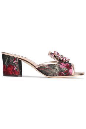 DOLCE & GABBANA Bianca Abaya crystal-embellished floral-jacquard mules