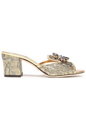 16a55ac222690 DOLCE & GABBANA Leather-trimmed embellished brocade mules