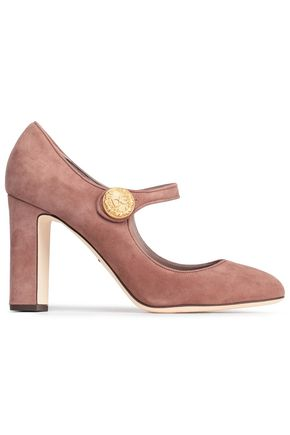 DOLCE & GABBANA Button-embellished suede Mary Jane pumps