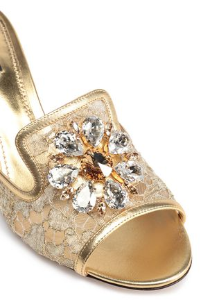 DOLCE & GABBANA Embellished corded lace mules