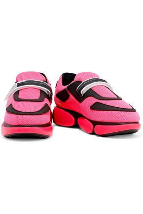 PRADA Rubber-trimmed neon mesh sneakers