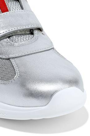 PRADA Metallic leather and mesh sneakers