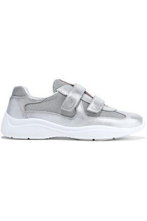 PRADA Metallic leather and mesh sneakers
