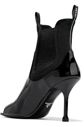 PRADA Neoprene-paneled patent-leather ankle boots