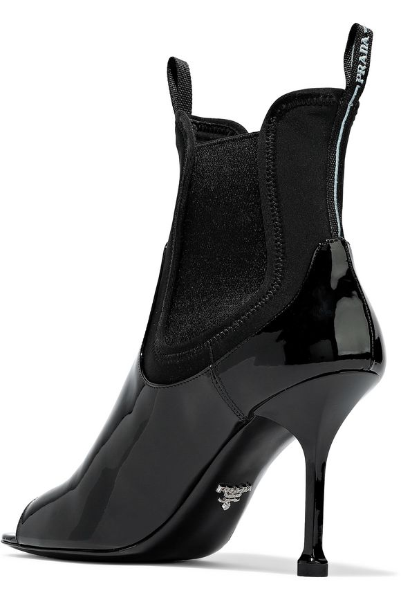 8b1c1b6e54db Neoprene-paneled patent-leather ankle boots | PRADA | Sale up to 70 ...