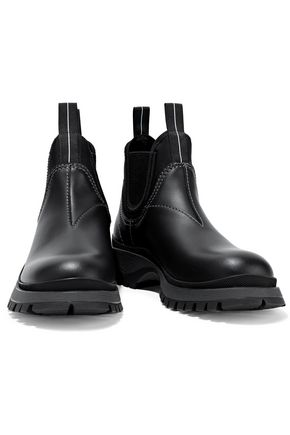 PRADA Rodeo neoprene-trimmed leather ankle boots