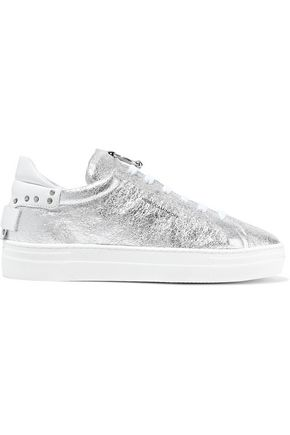 REBECCA MINKOFF Paloma embellished metallic cracked-leather sneakers