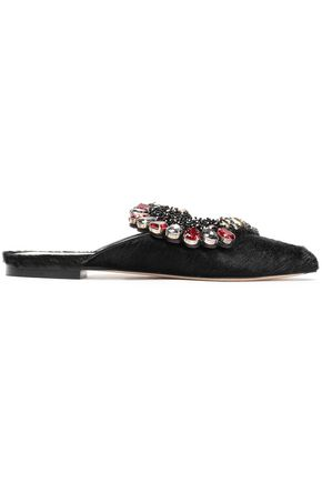 PAULA CADEMARTORI Embellished calf hair slippers