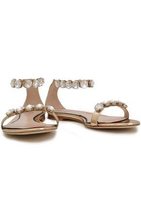 PAULA CADEMARTORI Crystal-embellished metallic leather sandals