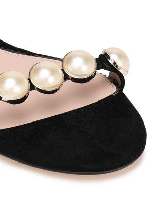 PAULA CADEMARTORI Faux pearl-embellished suede sandals