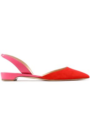 Paul Andrew Woman Rhea Two-Tone Suede And Leather Slingback Point-Toe Flats Tomato Red