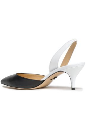PAUL ANDREW Rhea two-tone patent-leather slingback pumps