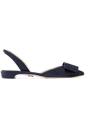 PAUL ANDREW Bow-embellished denim slingback point-toe flats