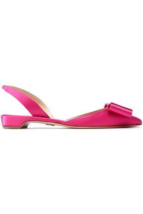 PAUL ANDREW Bow-embellished satin slingback point-toe flats
