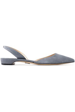 PAUL ANDREW Rhea suede slingback point-toe flats