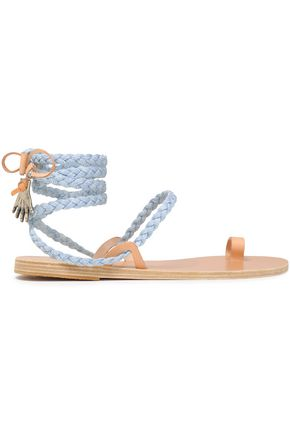 ANCIENT GREEK SANDALS Leather-trimmed braided denim sandals