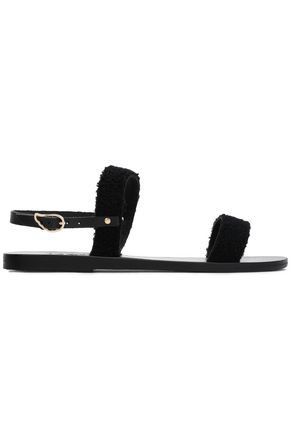 ANCIENT GREEK SANDALS Ceo leather-trimmed satin sandals