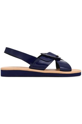 ANCIENT GREEK SANDALS Buckled patent-leather slingback sandals