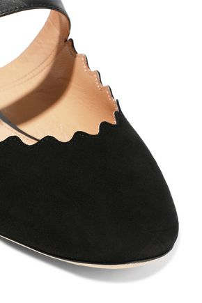 CHLOÉ Lauren leather-trimmed suede slippers
