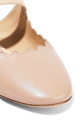 CHLOÉ Lauren patent-trimmed leather slippers