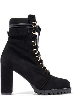 STUART WEITZMAN Lace-up suede platform ankle boots