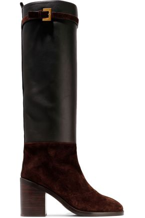 STUART WEITZMAN Suede and leather knee boots
