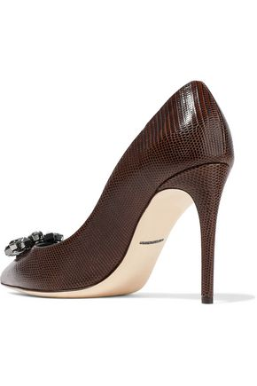 DOLCE & GABBANA Bellucci embellished lizard-effect leather pumps