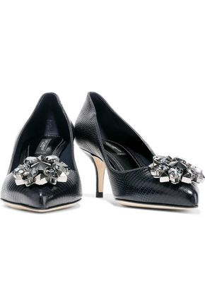 DOLCE & GABBANA Bellucci embellished lizard-effect leather pumps