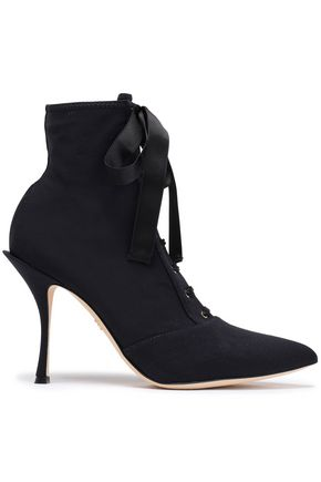 DOLCE & GABBANA Satin-trimmed lace-up stretch-faille ankle boots