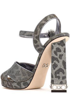 DOLCE & GABBANA Embellished leopard-print textured-lamé platform sandals