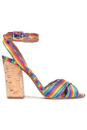 TABITHA SIMMONS | Tabitha Simmons Connie Striped Silk-Jacquard Sandals | Goxip