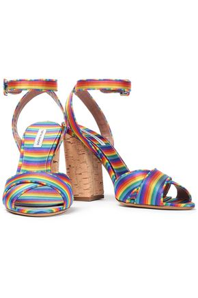 TABITHA SIMMONS Connie striped silk-jacquard sandals