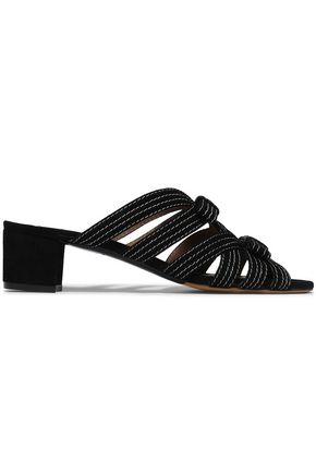 TABITHA SIMMONS Meryl bow-detailed suede mules