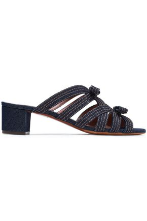TABITHA SIMMONS | Tabitha Simmons Meryl Bow-Embellished Denim Sandals | Goxip