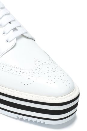 PRADA Perforated leather platform brogues