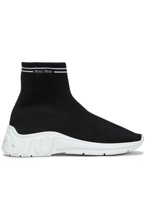 MIU MIU Stretch-knit slip-on sneakers