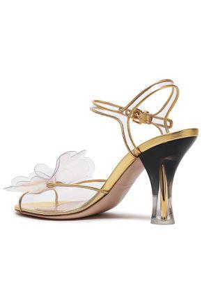 261972be557 Floral-appliquéd leather-trimmed PVC sandals | MIU MIU | Sale up to ...