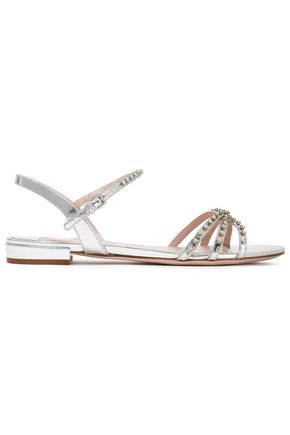 MIU MIU Crystal-embellished mirrored leather sandals