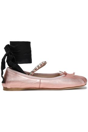 MIU MIU Lace-up embellished metallic leather ballet flats