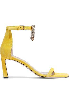 STUART WEITZMAN Crystal-embellished suede sandals