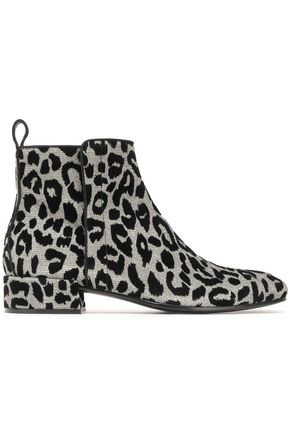 DOLCE & GABBANA Flocked metallic knitted ankle boots