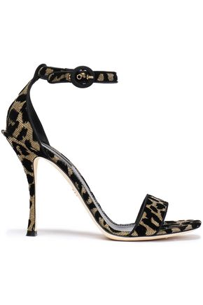 DOLCE & GABBANA Flocked leopard-print lamé sandals