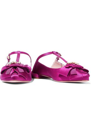 STUART WEITZMAN Bow-embellished satin point-toe flats